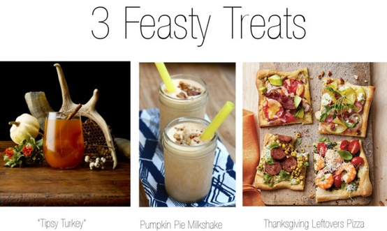 cocktails, a pumpkin pie milkshake, and thanksgiving leftover pizza
