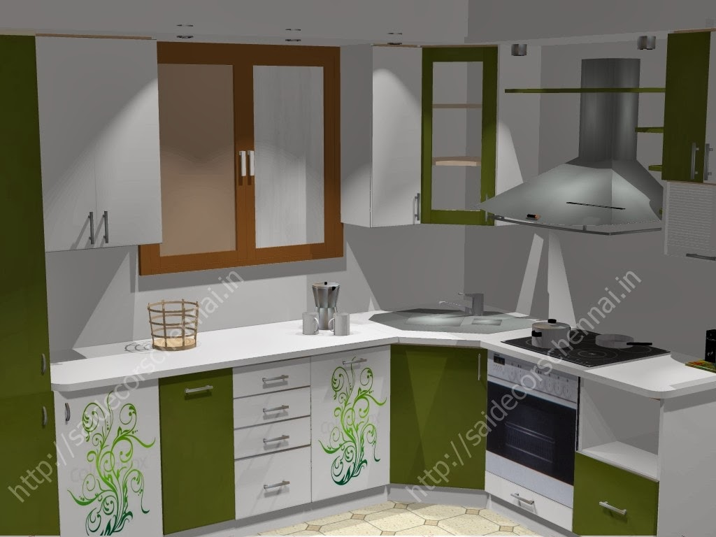 Flower design modular kitchen for Sample modular kitchen designs
