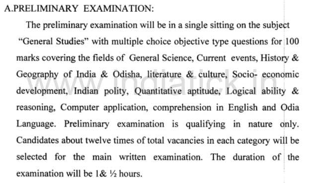 OSSC Exam Pattern for Inspector Of Supplies Gram Panchayat Extension Officer Progress Assistant