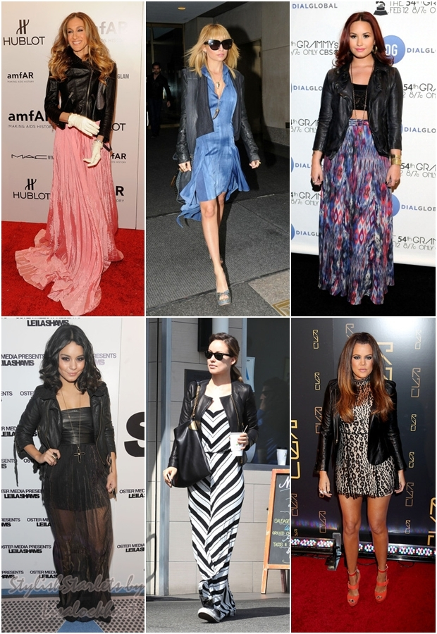 Hot Trend: Leather Jackets   Floral Dresses - Stylish Starlets