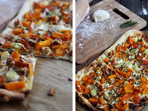 Kürbisflamkuchen mit Lauch und Walnüssen einfaches Rezept Holunderweg18 Foodblog