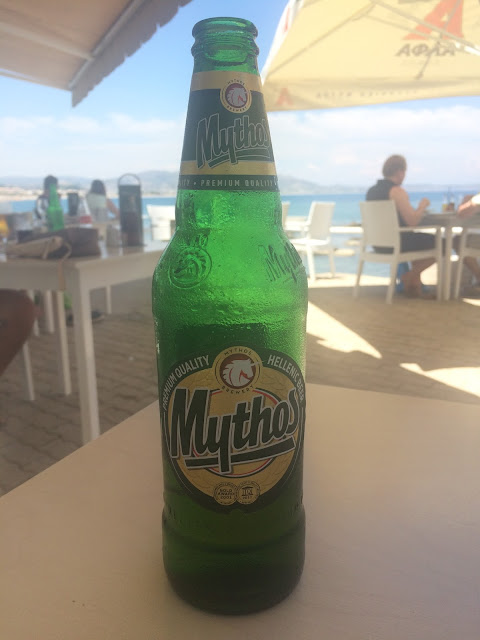 Mythos beer at Kapari Meat & Sea, Kolimbia, Rhodes, Greece