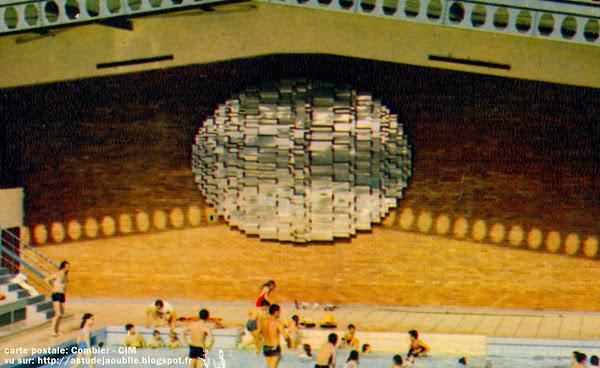 """Noyon - Sculpture et piscine Paul Boutefeu  Sculpure:  André Borderie  Bas-relief en acier inox """"Le Champ solaire"""" - 1968, détruit en 1999.  Architectes: Claude Charpentier, Jean Tabanou  Construction: 1967"""