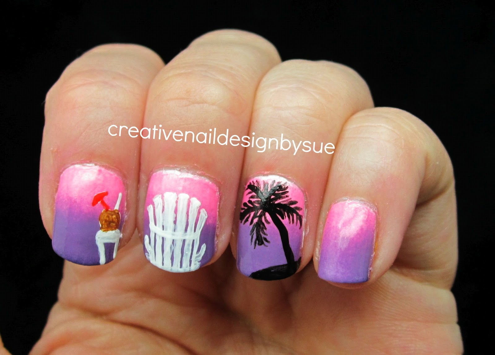 Creative nail design by sue summer challenge tropical drinks in this case it is a tropical drink in a coconut shell of course in this dream there would be palm trees prinsesfo Choice Image