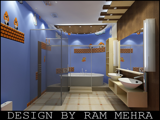 Ram mehra interior designer washroom design for Washroom interior design