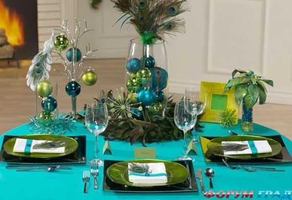 как украсить новогодний стол зеленый цвет