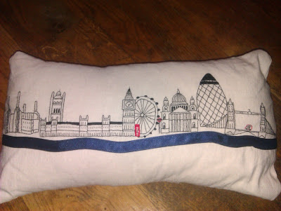 Hand embroidered london cushion
