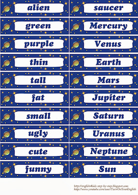 alien space flashcards for kids learning english