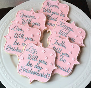 Decorated Wedding Party Cookie; Personalized Will You Be My Bridesmaid Cookies; Groomsmen; Flower Girl; spring wedding; spring wedding ideas;