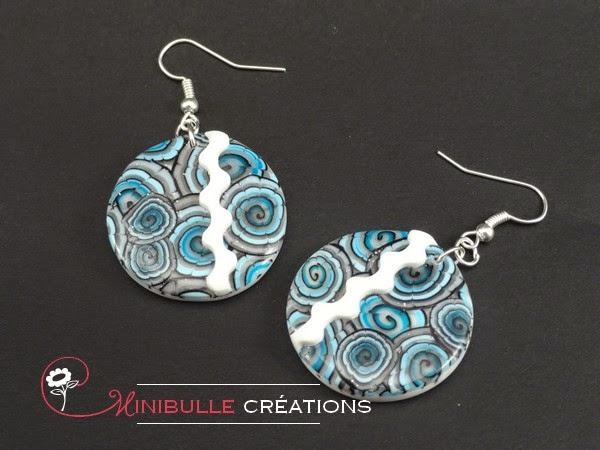 """Boucles d'oreilles """"gris-bleu"""""""