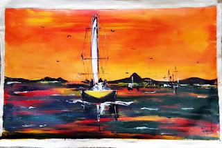 Clameli - Marina - Por do sol - Acrílico s/ tela