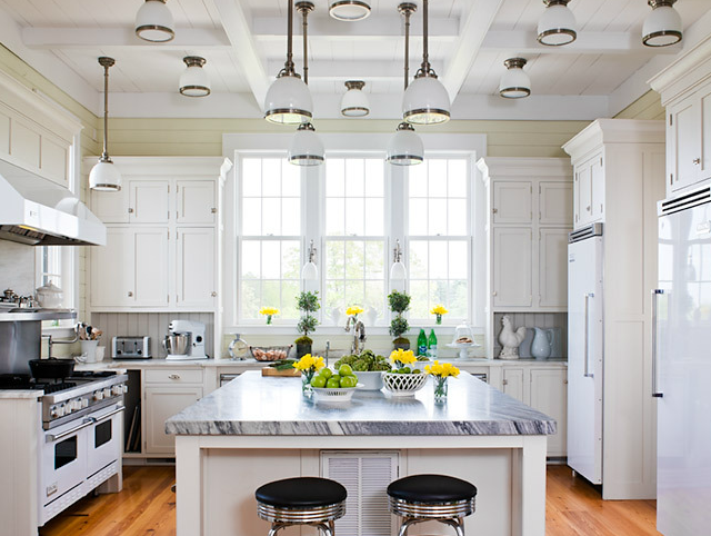 White Kitchen Stainless Appliances vignette design: stainless steel vs. white appliances