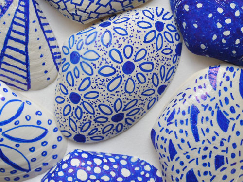 blue and white sharpie shells