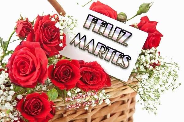 feliz martes con rosas rojas
