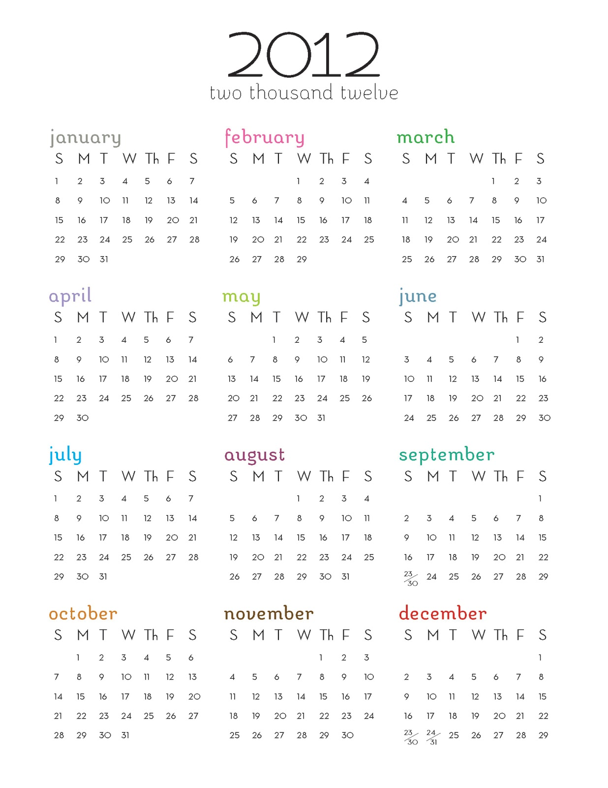 Calendar Year To A Page : Printable calendar one page omahdesigns