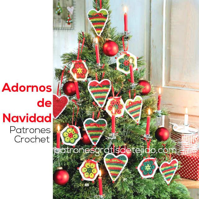 Adornos de Navidad tejidos al crochet