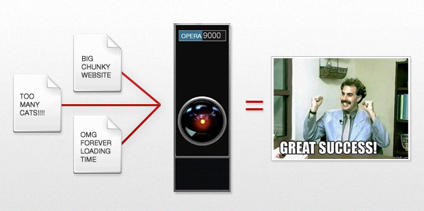 Picture of web pages being process by HAL 9000 and delivered to Borat.