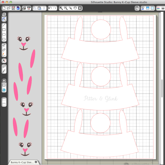Cut the K-Cup Sleeve Easter Bunny bodies from card stock. pitterandglink.com