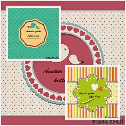 Anneler günü kutlama kartları