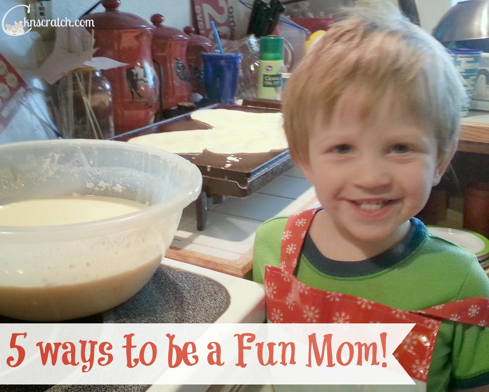 Boy wearing an apron stirs a bowl of pancake mix.  5 Ways to be a Fun Mom! Guest post by Camille Gillham.  @ATIPicalDay #funparenting #sillysuppers #bathroomfun #familybonding #kidactivities