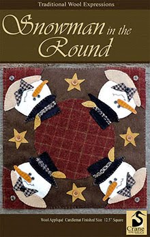 Snowman in the Round Wool Applique Candlemat 12.5""