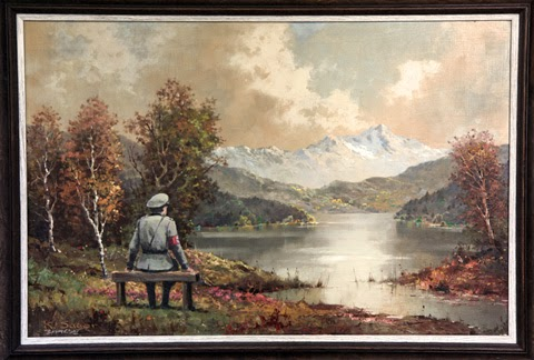 Artist Banksy paints a Nazi into a thrift store painting, then returned the painting to the thrift store to sell as they wished.  The painting earned $615K for the charity.