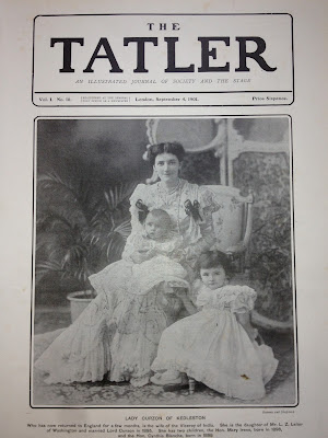 Mary Curzon with her children on the front page of the newspaper the Tatler