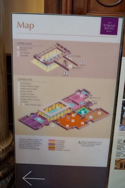 Baños Romanos De Bath:de la piscina sale la fuente de agua que tiene una temperatura de