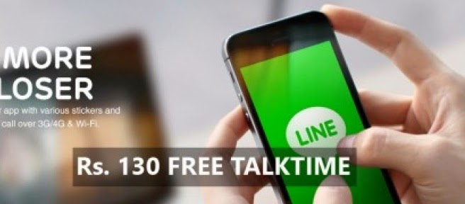 LINE Application Joining Bonus + Rs.130 FREE TALKTIME !!!!