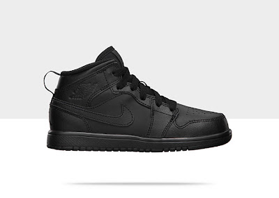 Air Jordan 1 Mid (10.5c-3y) Pre-School Boys' Shoe Black/Black-Black, Style - Color # 554726-010