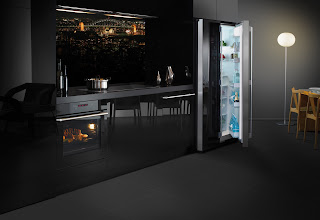 modern black kitchen design with black appliances