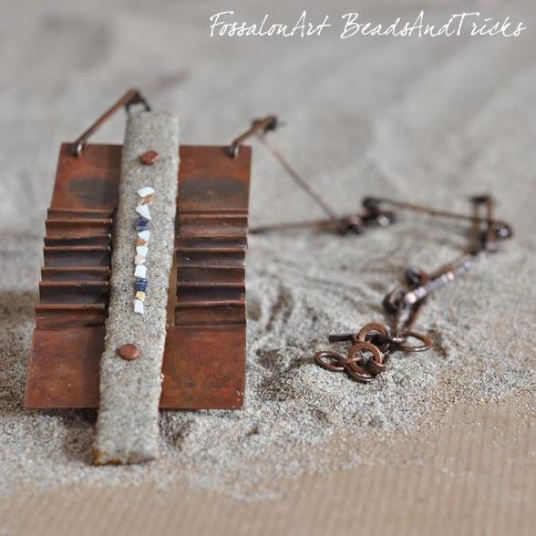 FossalonArt & BeadsandTricks collana fatta a mano in rame, corda, sabbia e frammenti di conchiglie