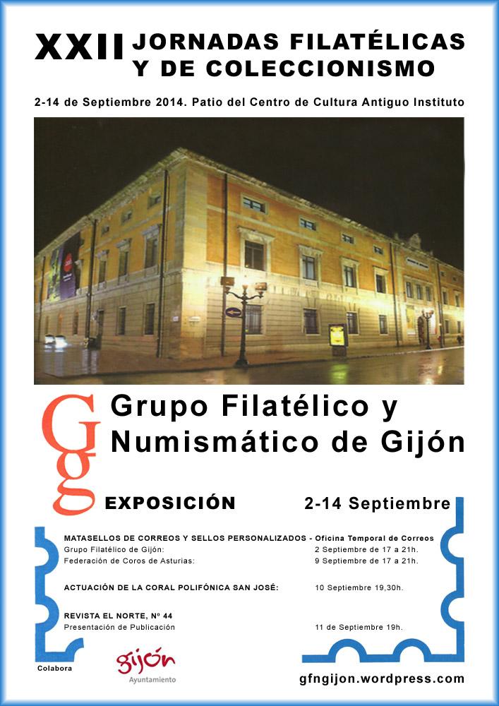 Cartel de las XXII Jornadas de Filatelia y coleccionismo en Gijón