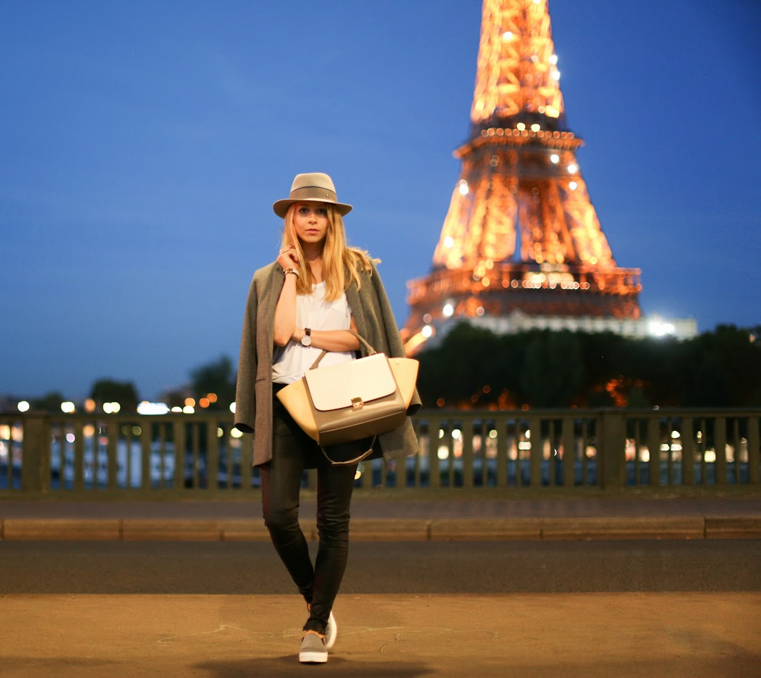 cos, céline, céline shoes, maison michel, blk dnm, leather pants, eiffel tower, paris, fashion blogger, paris by night, effortless