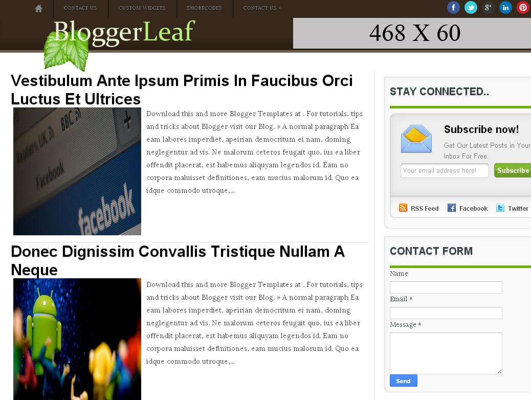 BloggerLeaf Blogger Template