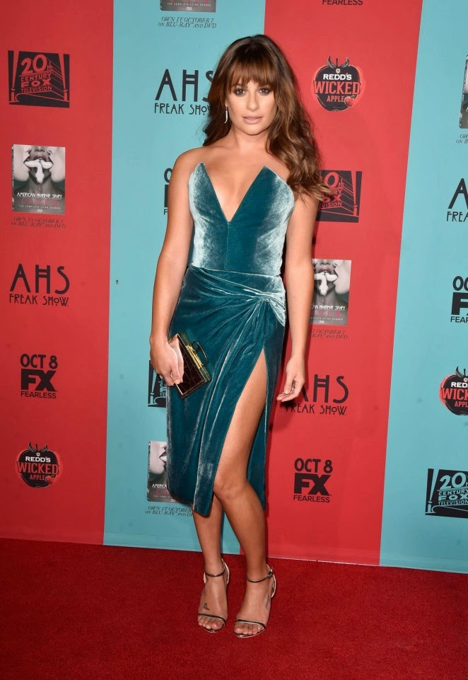 Lea Michele stuns in a plunging strapless dress at the 'American Horror Story: Freak Show' LA premiere