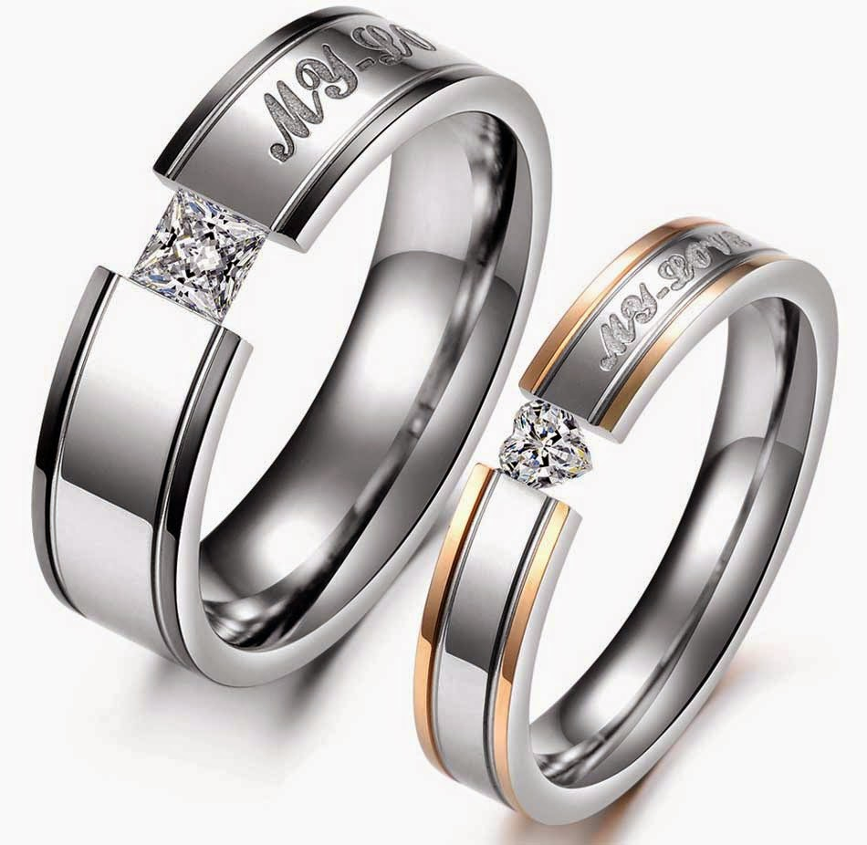 Matching Wedding Rings Sets Square Heart Diamond Two Tone