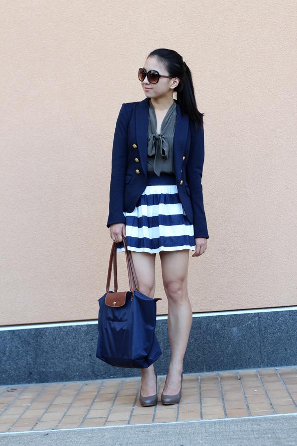 Olive Bow & Navy Stripes