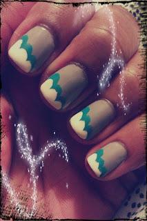 Clouds, rainy day, nail art, mani
