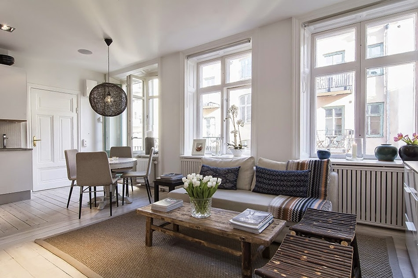 Living room in small bright apartment