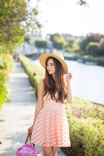cute summer outfit pink fit and flare dress and sun hat M Loves M @marmar
