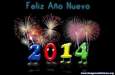 Feliz año nuevo 2014, tarjetas con letras de colores y juegos artificiales