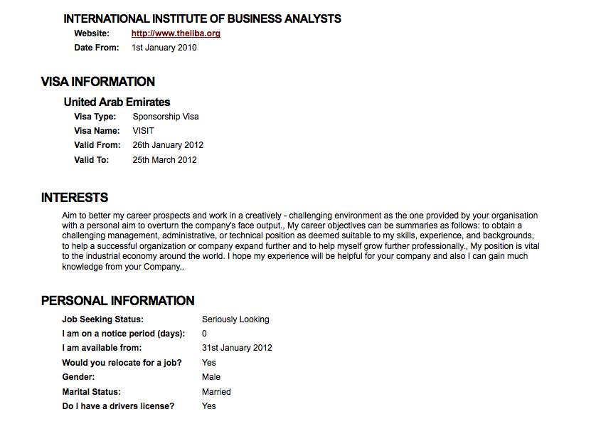 Resume for australian visa application