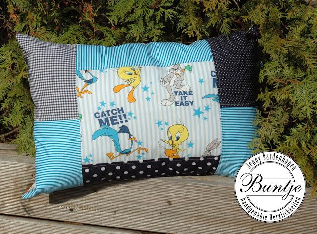 Kissen Baumwolle blau Junge türkis Loones Tunes Bugs Bunney nähen handmade Buntje Geschenk