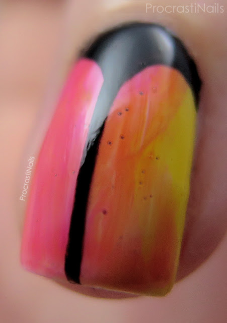 Macro of nail art with the Essie Silk Watercolor Collection