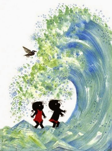 Jip and Janneke in a gigantic wave by the beach illustration by Fiep Westendorp