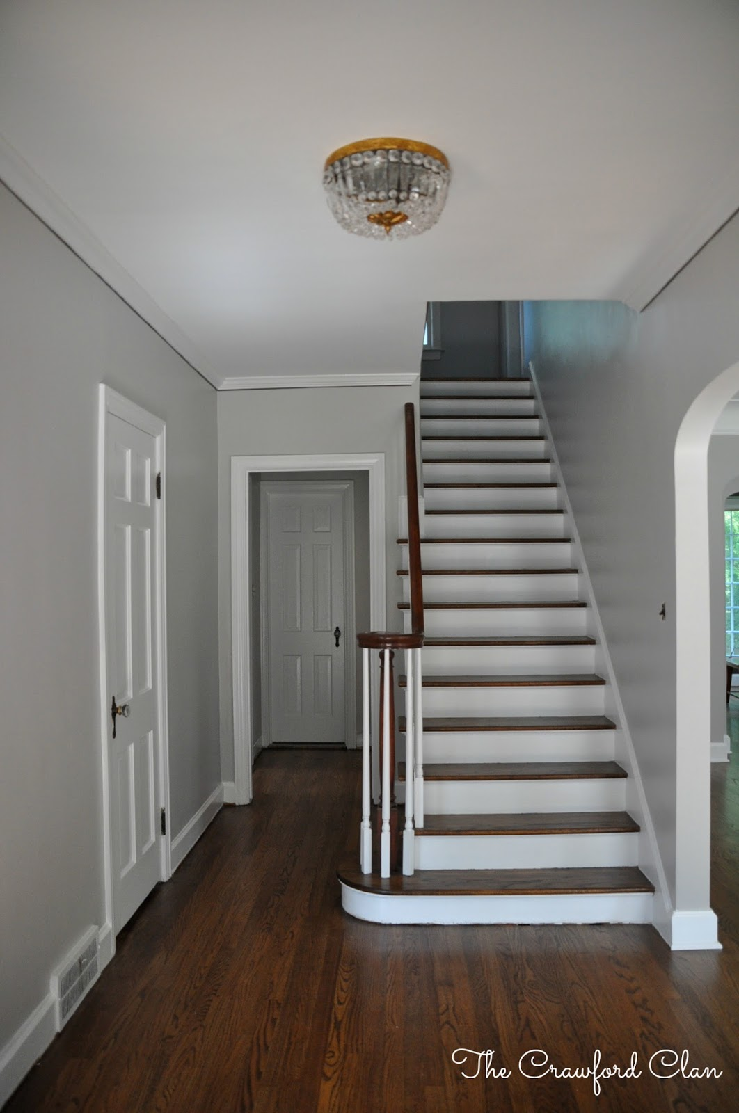 the crawford clan foyer before progress and plan