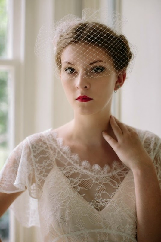 Close-up of Birdcage veil for vintage wedding dresses - Heavenly Vintage Brides