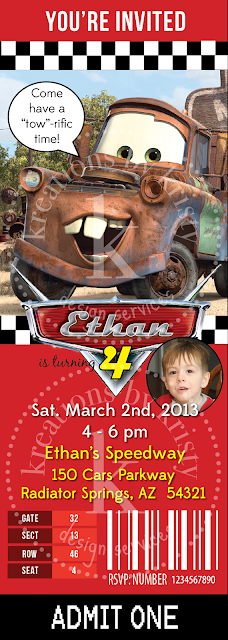 Cars 2 Race Ticket Birthday Party Invitation | kreations by kristy