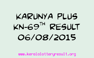 Karunya Plus KN 69 Lottery Result 6-8-2015